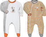 Baby Butt Schlafanzug 2er-Pack mit Druckmotiv Frottee apfelsine Größe 62/68