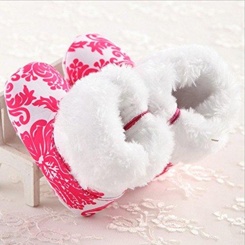 V. punto Bambini/bambini Natale Renna Inverno Caldo Morbido Stivali Pantofole (Renna) Red Flowers