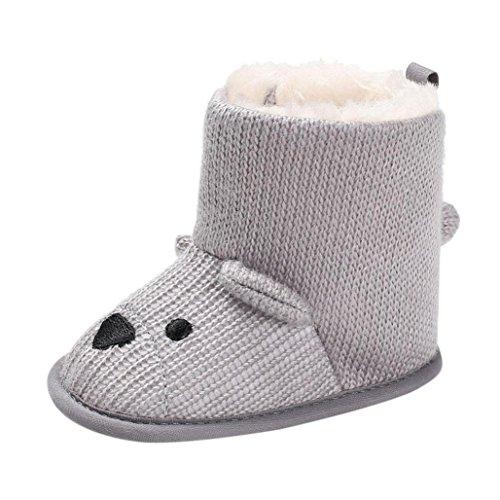 Fuibo Babyschuhe, Baby Boy Soft Booties Schneeschuhe Infant Kleinkind Neugeborenen Erwärmung Schuhe (1, Grau) -