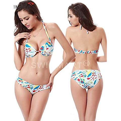 ZQ Tazza con ferretto posteriore closured completamente foderato fondo 2016 Fashion Allover Stampa Retro push up (Foderato Bikini Swimsuit)