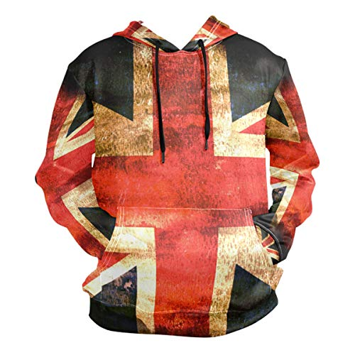 Herren Kapuzenpullover Retro Old UK The British Flag Gr. XX-Large, Mehrfarbig