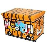 GMMH Hocker Safari 40 x 25 x 25 cm Faltbarer Original Spielzeugbox Spielzeugtruhe Spielzeugkiste AufbewahrungsboxSitzhocker Faltbar