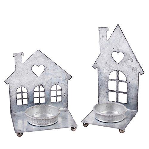 Teelichthalter 2er Set Haus Design Metall 9x9cm silber