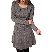 Robe Pull Tricot Femme Manches Longues Automne Hiver Mince Robe Sweater Tricot Casual A Line de Cocktail Party Mini-robe Haut Pull-over Jumper Tunique Blouse - BienBien