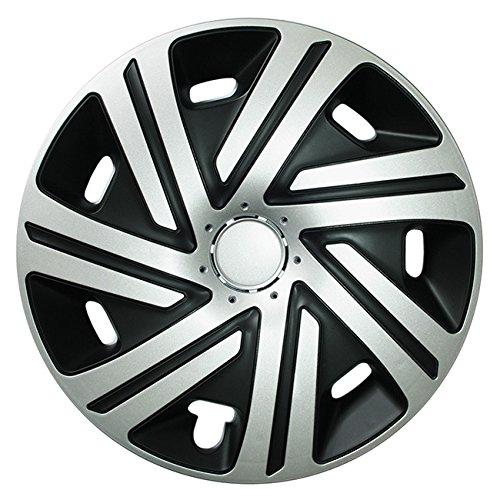 (Größe wählbar) 16 Zoll Radkappen / Radzierblenden CYRKON Schwarz/Silber passend für fast alle Fahrzeugtypen – universal