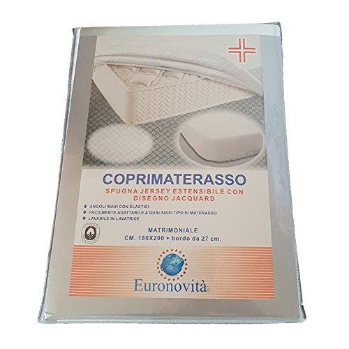 Euronovità en-221794 coprimaterasso matrimoniale con angoli estensibili, cotone, bianco, 200x180x27 cm