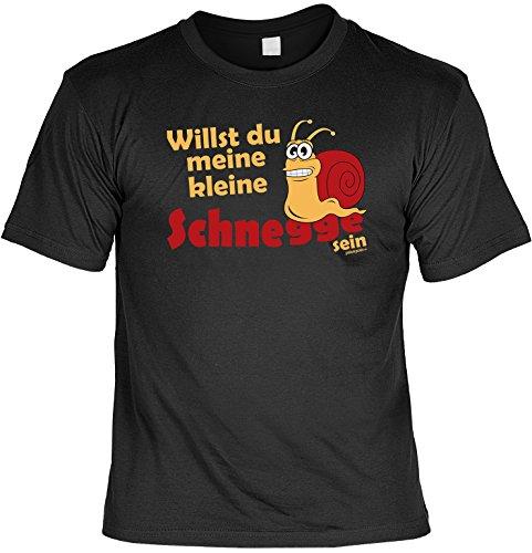 Lustiges Sprüche T-Shirt Weihnachtsgeschenk Willst du meine kleine Schnegge sein - witzig bedrucktes Funshirt Fun T-Shirt Geschenk T-Shirt Schwarz