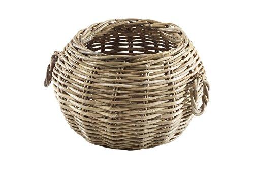 Hochwertiger runder Rattankorb mit Henkeln in einem natürlichen Grauton von kobolo (Korb Für Zwiebel Und Kartoffel)