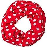 ManuMar Loop-Schal für Damen | feines Hals-Tuch mit Punkte Pünktchen Kreise-Motiv als perfektes Sommer-Accessoire | Schlauch-Schal - Das ideale Geschenk für Frauen