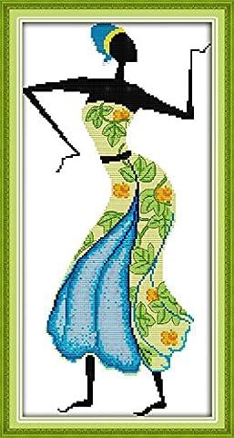 YEESAM ART Neu Kreuzstich Stickpackung - afrikanischen Stil 14 CT 26×47 cm DIY Stickerei Set Weiß Segeltuch - Kreuz Nähen Handarbeit Weihnachten Geschenke Cross Stitch (Designer Christmas Tree Topper)