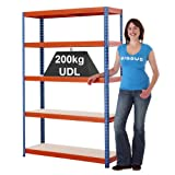 5 Level Steel Shelving Garage Storage Racking Boltless Mega Deal - 3 Variations (1780h x 1200w x 400d mm)
