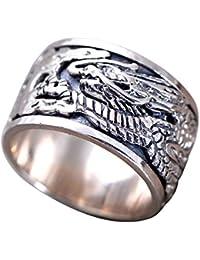 c9c3284d83af ForFox Anillo Giratorio Dragón Chino de Plata esterlina 925 Vendimia para  Hombres Mujeres 12mm