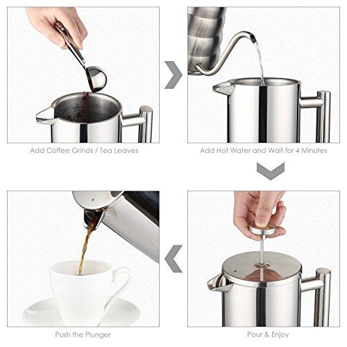 Aicok Kaffeebereiter mit Edelstahlfilter, Kaffeekanne, French Press System mit Zweilagiger Edelstahl Konstruktion – 1L - 4