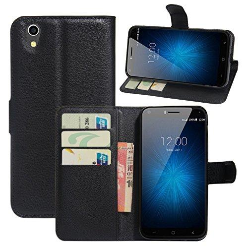 HualuBro UMIDIGI London Hülle, [All Aro& Schutz] Premium PU Leder Leather Wallet Handy Tasche Schutzhülle Case Flip Cover mit Karten Slot für UMIDIGI London 5.0 Inch 3G Smartphone (Schwarz)