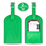 Luggage Tags Bag Tags, Tintec PU Luggage Bag Tags Suitcase ID Tag Business Card Holder Suitcase Label Travel Accessories with Full Back Privacy Cover (2 Packs) Green
