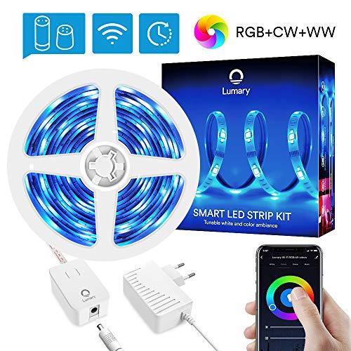 Ruban LED 5M Alexa Connecté WiFi, Lumary Intelligente Bande LED RGB+Blanc Chaud+Blanc Froid, Sync...