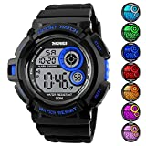 Männer 's Digital Sport Armbanduhr LED-Bildschirm groß, Militär Uhren und wasserdicht Casual Luminous Stoppuhr Alarm Simple Armee Armbanduhr Blau
