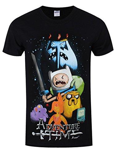 Adventure-Time-Herren-T-Shirt-Filmposter-schwarz-Offiziell-lizenziert