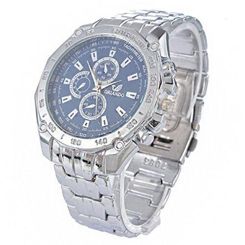 Souarts Herren Blau Silberfarbe Armbanduhr Quartz Analog mit Batterie