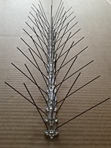 5 metre (10 pcs) pack Bird spikes: 100 stainless steel spikes per metre, polycarbonate base