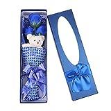 Lurrose Ramo Jabón Rosa Perfumado Romántico con Oso Peluche y Caja en Regalo Creativo para Día de San Valentín (Azul)