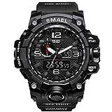 SMAEL Reloj Deportivo de Cuarzo analógico Digital para Hombres, Impermeable, Multifuncional, dial Grande para Hombres(Negro)