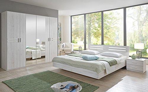 PEGANE Chambre Adulte 190 X 140 cm Imitation chêne Blanc/Chrome Brillant