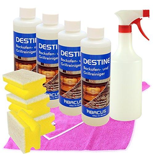 DESTINE 4er SET (7216) --- 4x 500 ml DESTINE + 1x 750 ml Sprühflasche mit Sprühkopf + 4x Haushaltsschwamm + 1x MFT HIGH PERFORMANCE Tuch pink --- Backofenreiniger Herdreiniger Ofenreiniger -- ABACUS