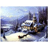 5D Diamond Painting DIY Craft Kit Cross Stitch Home Decor Christmas Snow House