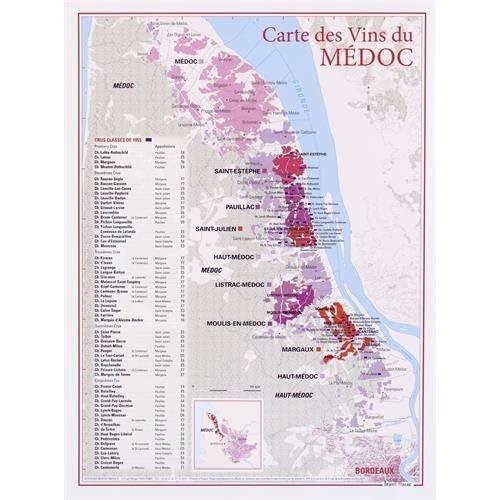 Carte des vins du Medoc