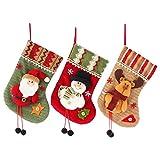 Weihnachten Socken 3er Pack Weihnachten Strümpfe Sockentaschen Weihnachten muster Kleine Stiefel Personalisierte Strumpfdekorationen Weihnachtsstiefel Geschenktüte für den Familienurlaub Dekor
