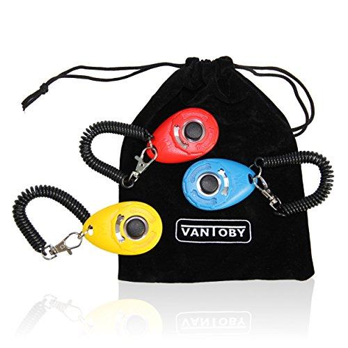 Vantoby - Klicker Set inkl. Futterbeutel & 3 Beutel zur Aufbewahrung GRATIS   Klicker mit Spiralarmband   Klickertraining für Hunde & Katzen   Premium Clicker für Hundeerziehung