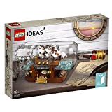 LEGO 21313 Ideas Ship in Bottle Construction Set, Brick-built Bottle and Stand, Creative Building Playset