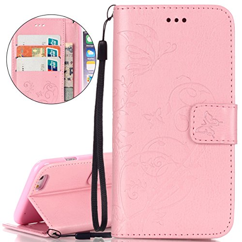 Custodia iPhone 6S, ISAKEN Custodia iPhone 6, iPhone 6 Flip Cover in Color, Elegante Fiori Pattern Design Custodia PU Pelle Protettiva Portafoglio Case Cover per Apple iPhone 6 4.7 / con Supporto di  Flower: rosa