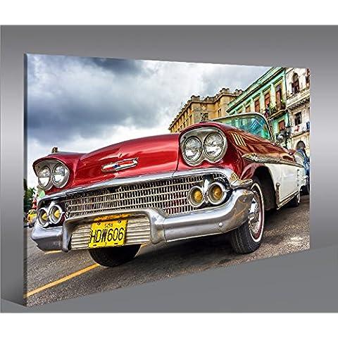 Quadro moderno Cuba Chevy Retro 1p Stampa su tela - Quadro x poltrone salotto cucina mobili ufficio casa - fotografica formato XXL