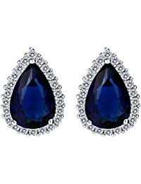 TENYE Women's Full Cubic Zirconia Wedding Teardrop Stud Earrings