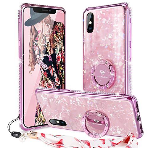 OCYCLONE iPhone XS Hülle, iPhone X hülle für Frauen Mädchen, Süß [Gehärtetes Glas Rückseite] Glitzer Diamant Strass Bumper mit Ring Kickstand Schutzhülle für iPhone XS/iPhone X 5,8 Zoll - Roségold -