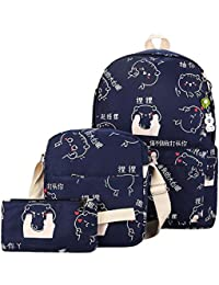 Tomtopp 3pcs Autumn Winter Women Backpack Cute Cat Printing Canvas School Bag Set