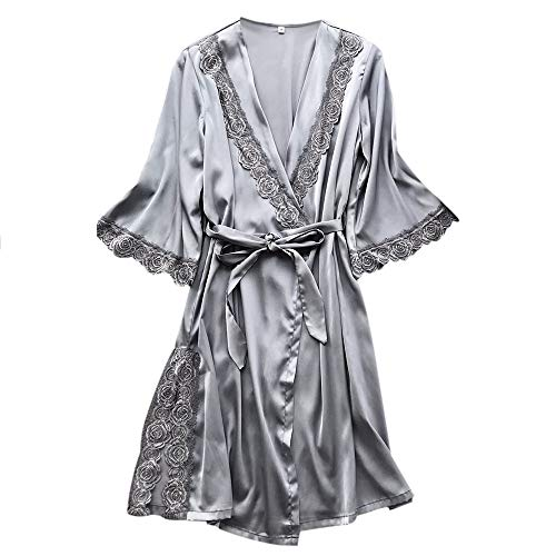 Hffan Damen Rose Pyjamas Nachthemd Kleid Langarm Bademantel Pyjamas Set Freizeit Casual Elegant Hausdienst Gesetzt(Grau,Small)