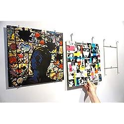 Idée cadeau déco - Cadre pour disque vinyle 33 tours - Accessoire design et original pour accrocher au mur - Décoration murale pour salon et chambre - Pour pochettes 33T