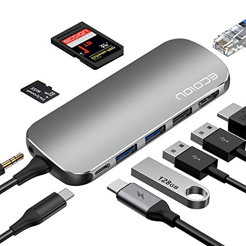 Av-mini-jack (USB C Hub, Typ C Hub Adapter 9-in-1 Ports für 4K HDMI, USB 2.0/3.0 PD Power Delivery, SD 3.0 Kartenleser, Ethernet, Audio Jack, kompatibel mit MacBook, Surface, PixelBook, USB-C Smartphones)