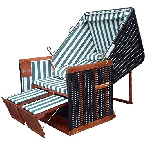 XINRO® - XY-02 - Terrassen Strandkorb inkl. Premium Strandkorb Schutzhülle & 4x Kissen - grün-gestreifter Stoff - braunes Holz, Form Nordsee Strandkorb