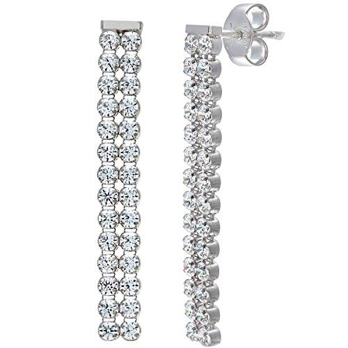 Elegano-Bracciale in argento Sterling e placcati al rodio, 2 fili, con orecchini a goccia con cristalli