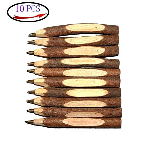 Abcsea 10PCS Penna Legno, Avanzato Creativo Originale Originale Ecologico Ecologico Fatto A Mano Penna A Sfera In Legno A Sfera Penna - Corto