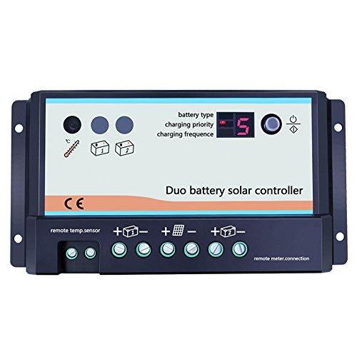 Controlador de carga solar dual 10A/20A, 12V/24V.