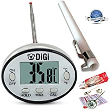 Digital Meat Thermometer with Instant Read - Thin Stainless Steel Probe for Cooking and Grilling Food To Perfection - Kitchen Candy and BBQ Internal Temperature Guide Plus Side Clip for Liquids. by cooknstuff