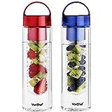 VonShef 2er Pack 700 ml Früchte Teeei Wasser Aufguss Flasche - BPA-frei