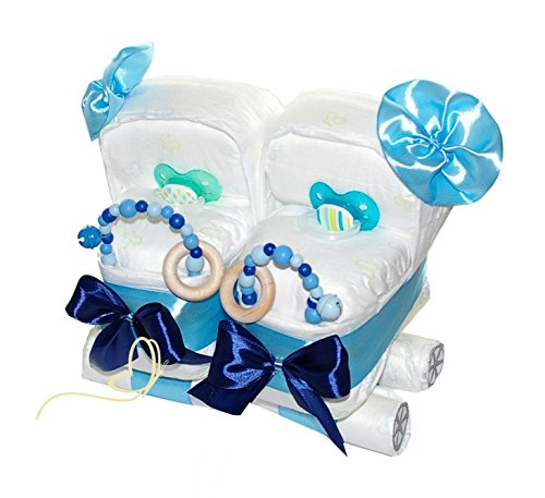 Windeltorte Zwillingswagen blau - Geschenk für Zwillinge - Windelkinderwagen