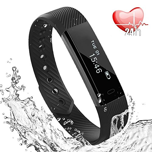 Fitness Armband,Wasserdicht IP67 Fitness Trackers Aktivitätstracker Fitness Uhr Smartwatch Schrittzähler für Damen Herren Vibrationsalarm Anruf SMS Whatsapp Beachten für iPhone Android Handy