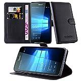 Cadorabo DE-105709 Nokia Lumia 950 Handyhülle mit Kartenfach und Standfunktion Schwarz